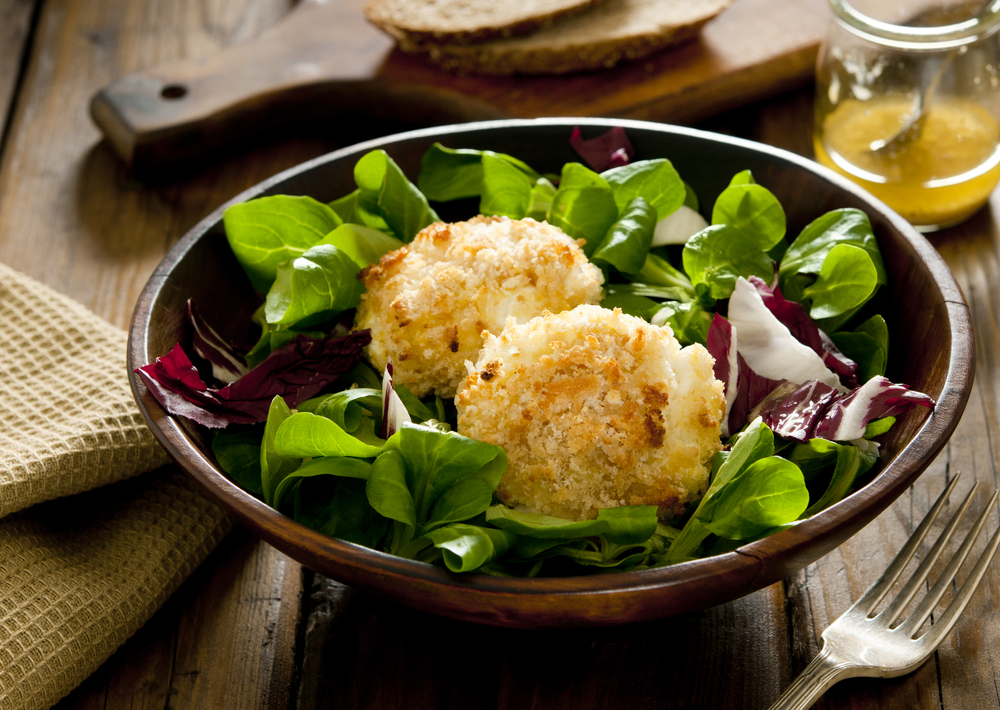 Deep fried goat cheese with Salad